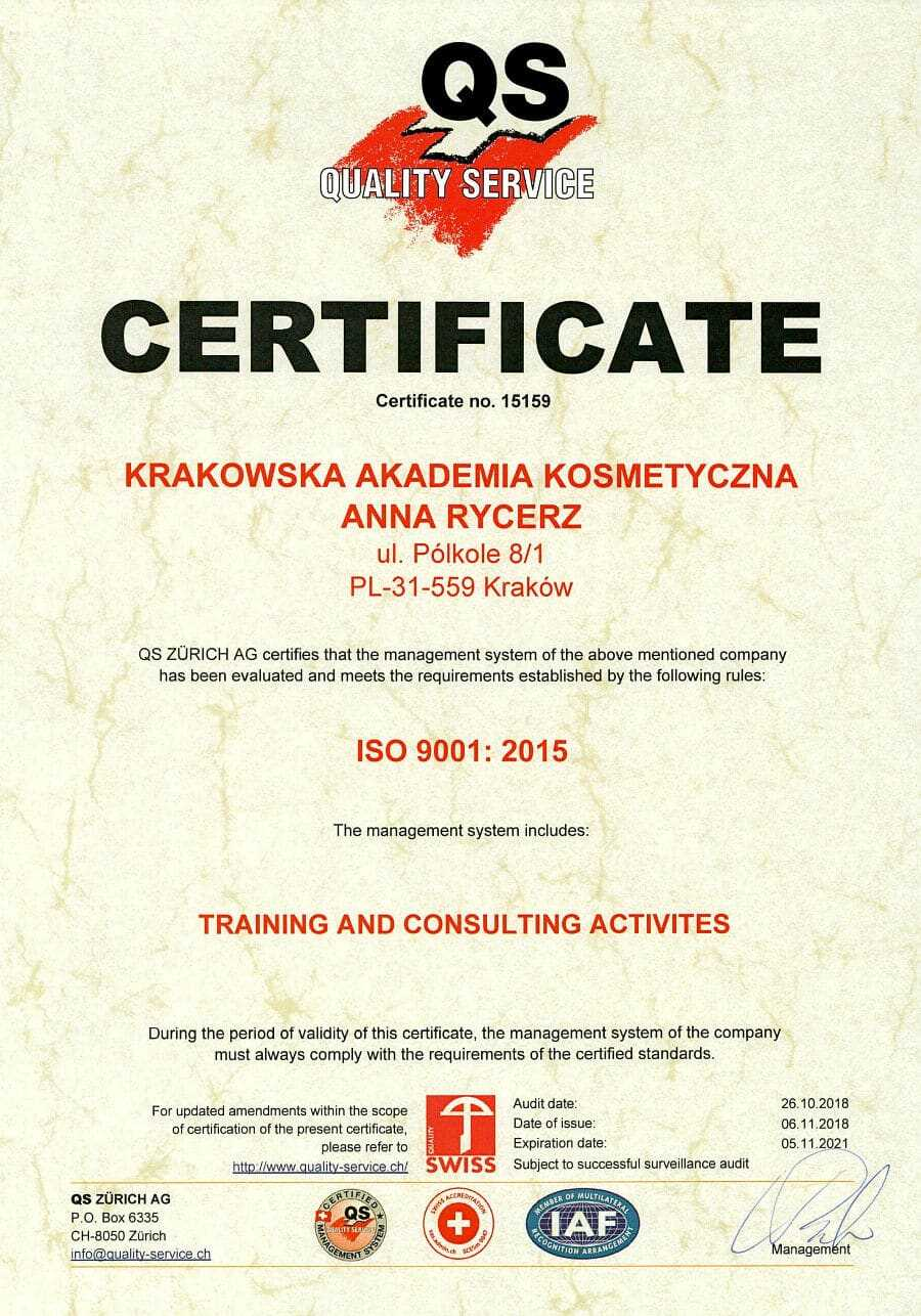 "Certificate ISO 9001""2015"
